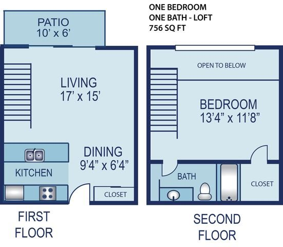 1 Bedroom Townhouse Floor Plan 2