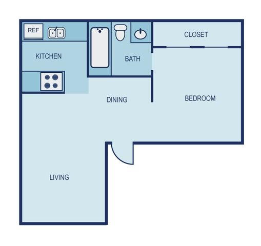 *Income Restricted- 1 Bed 1 Bath Floor Plan 12