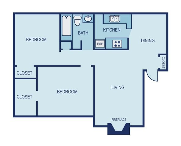 *Income Restricted- 2 Bed 1 Bath Floor Plan 13