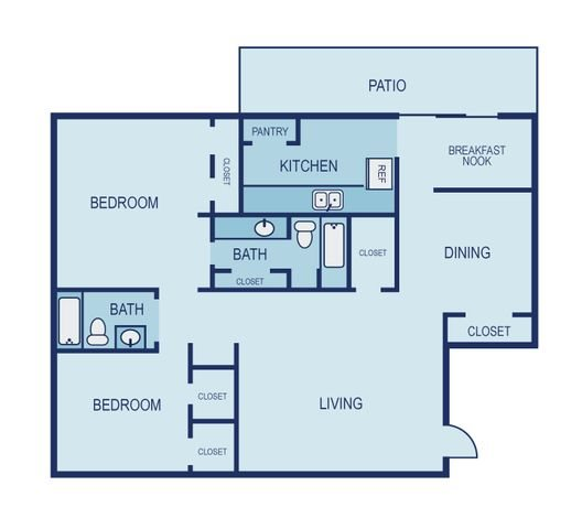 2 Bed 2 Bath Floor Plan 10