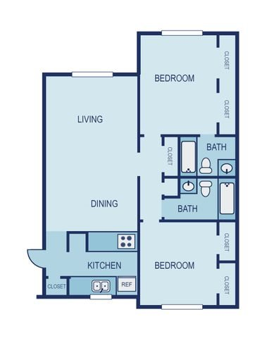 2 Bed 2 Bath Floor Plan 7