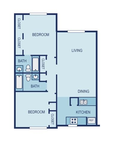 2 Bed 2 Bath Floor Plan 8