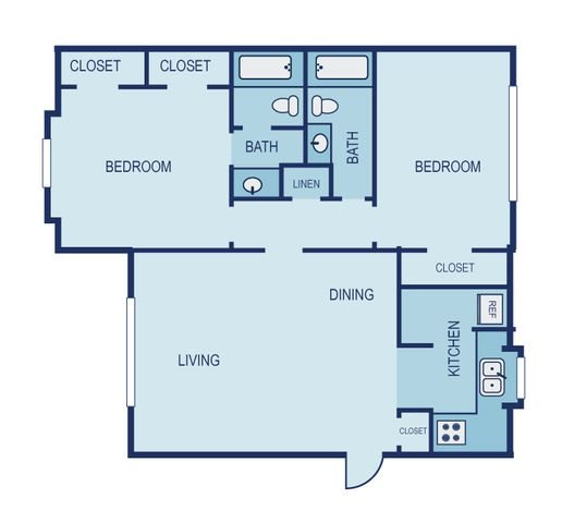 2 Bed 2 Bath Floor Plan 9