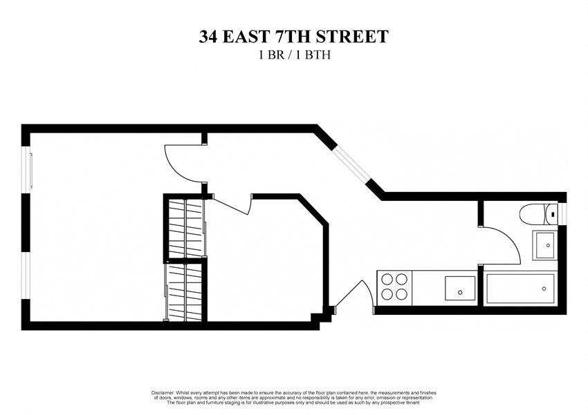 2D floor plan of one bedroom and one bathroom at 34 East 7th Street New York