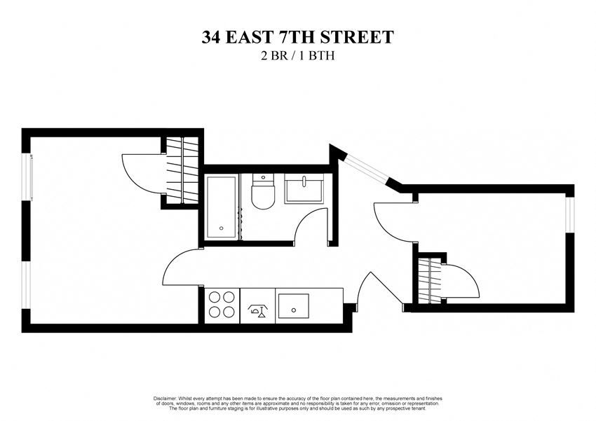 2D floor plan for 2 bedroom one bath at 34 East 7th Street New York