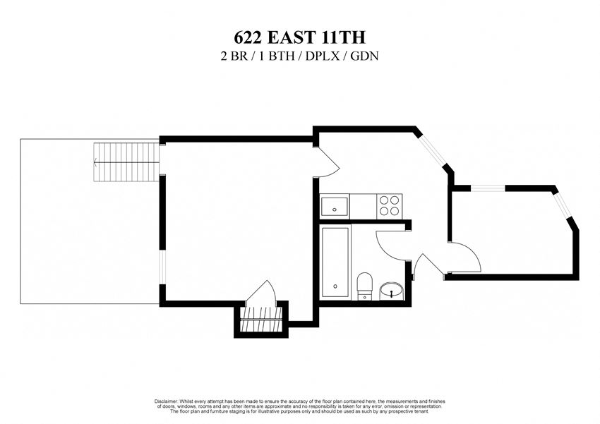 Floor plan for two bedroom one bathroom duplex with a private garden at 622 East 11th Street New York