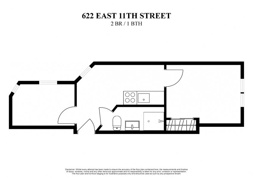 floor plan for 2 bedroom one bath at 622 East 11th Street new York