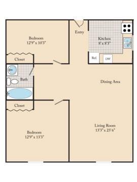 2 Bed / 1 Bath C