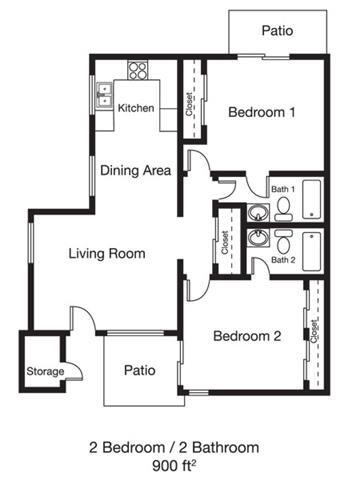 2bed 2bath Floor Plan 4