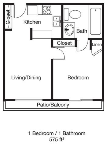 1bed 1bath Floor Plan 1
