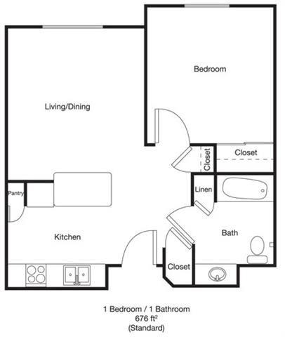 1bed 1bath Std Floor Plan 1