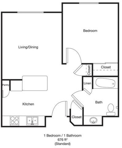 1bed 1bath Handicap Floor Plan 2