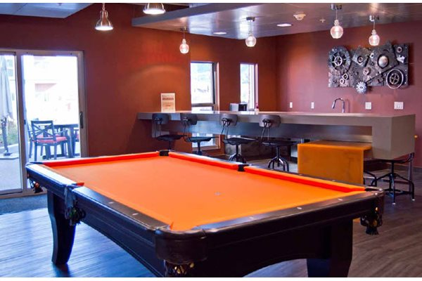 Pool Table and Lounge Area, Hot Metal Flats apartments, Pittsburgh, PA