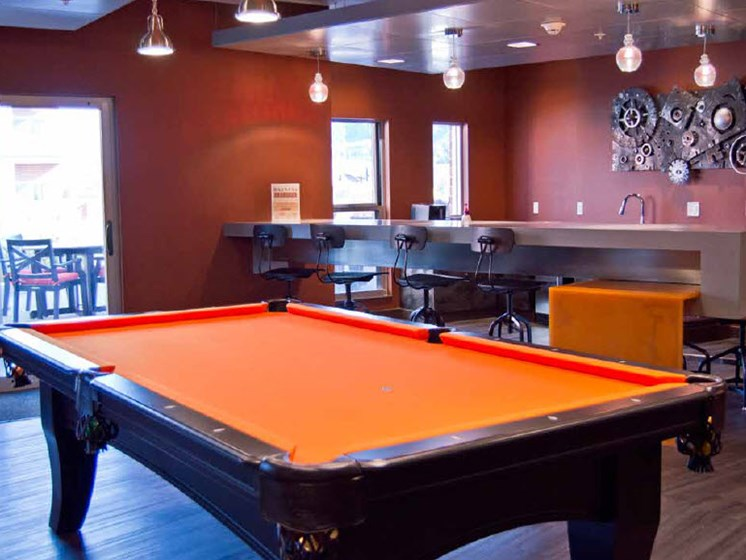 Pool Table and Bar Area, Hot Metal Flats apartments, Southside Pittsburgh, PA