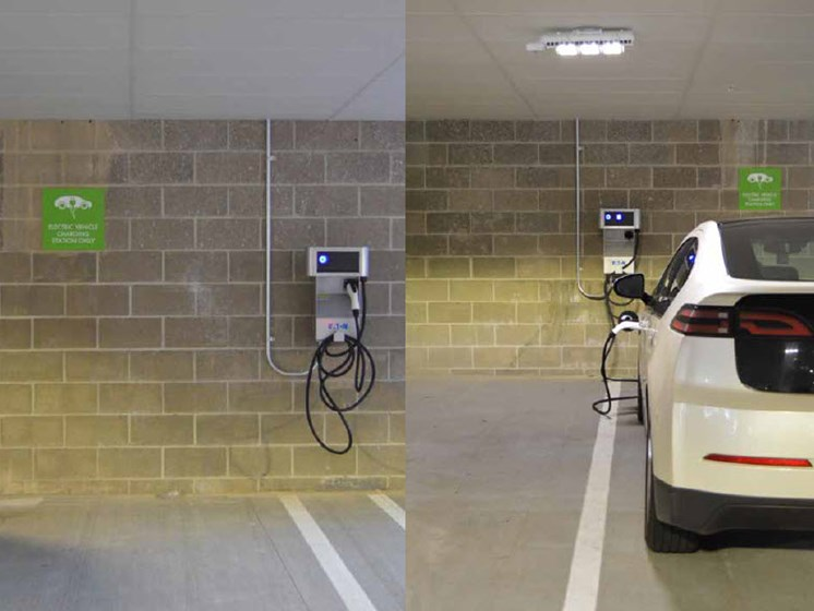 EV Charging Station, Hot Metal Flats apartments, Southside Pittsburgh, PA