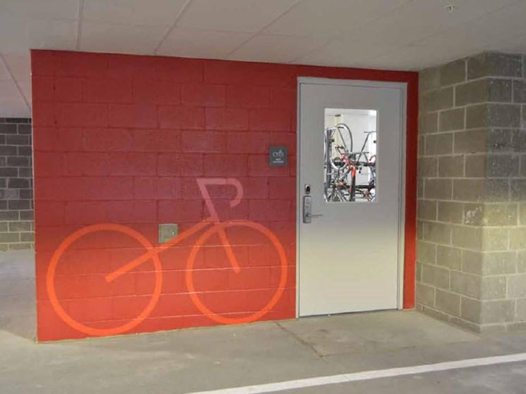 Bike Storage Area, Hot Metal Flats apartments, Pittsburgh, Pennsylvania 15203