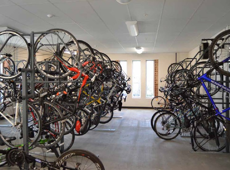 Bike Storage Area, Hot Metal Flats apartments, Pittsburgh, Pennsylvania 15203