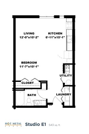 Hot Metal Flats E1 floorplan, Hot Metal Flats apartments, Pittsburgh, PA
