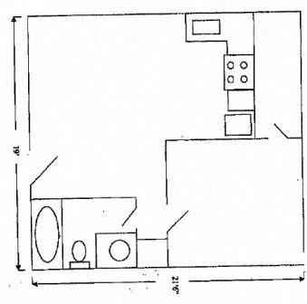 One Bed, One Bath La Cascada I Floor Plan 1