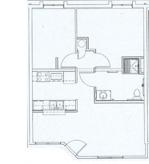 Two Bed, One Bath La Cascada I Floor Plan 2