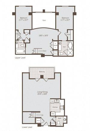 2 Bed/2.5 Bath Loft