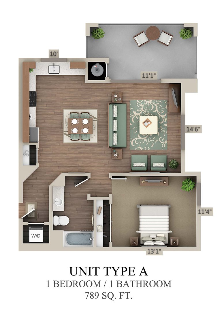 Type A One Bedroom Floor Plan 2