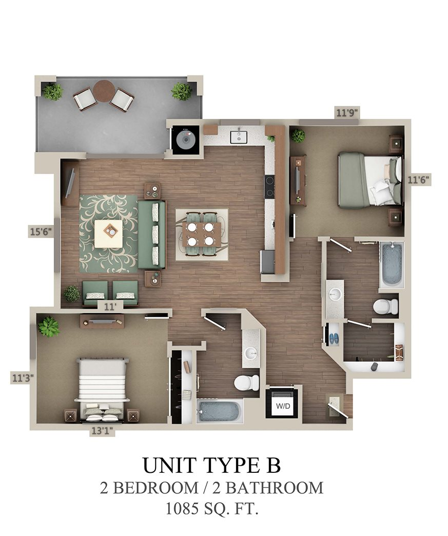 Type B Two Bedroom Floor Plan 3