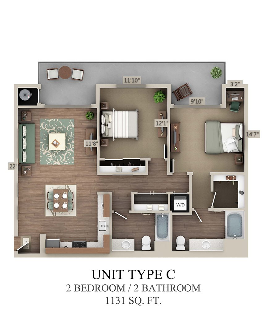 Type C Two Bedroom Floor Plan 4