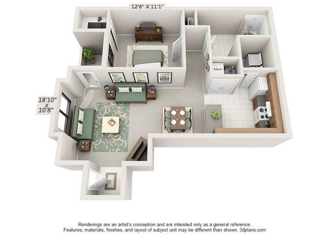 One Bedroom Floor Plan 2