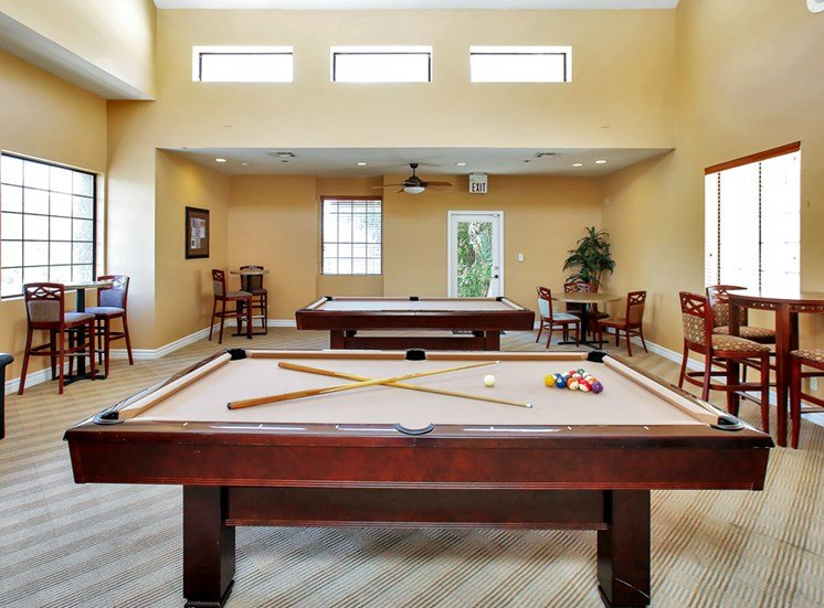 Billiards Table in Recreation Room at Pavilions at Pantano in Tucson, AZ.