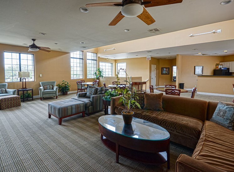 Spacious couches in Clubhouse of Pavilions at Pantano in Tucson, AZ, For Rent. Now leasing 1, 2 and 3 bedroom apartments.