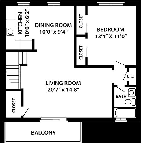 The Beachwood 1 bedroom 1 bathroom floor plan at Troy Hills Village in Parsippany, NJ