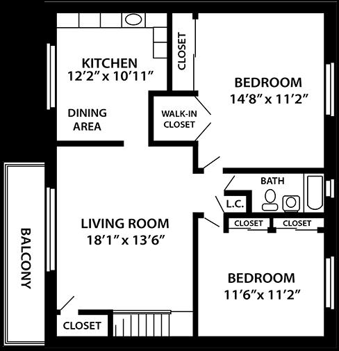 The Darlington 2 bedroom 1 bathroom floor plan at Troy Hills Village in Parsippany, NJ,07054