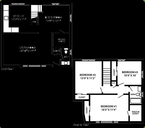 The Grandview 3 bedroom 2 bedroom floor plan at Troy Hills Village in Parsippany, NJ,07054