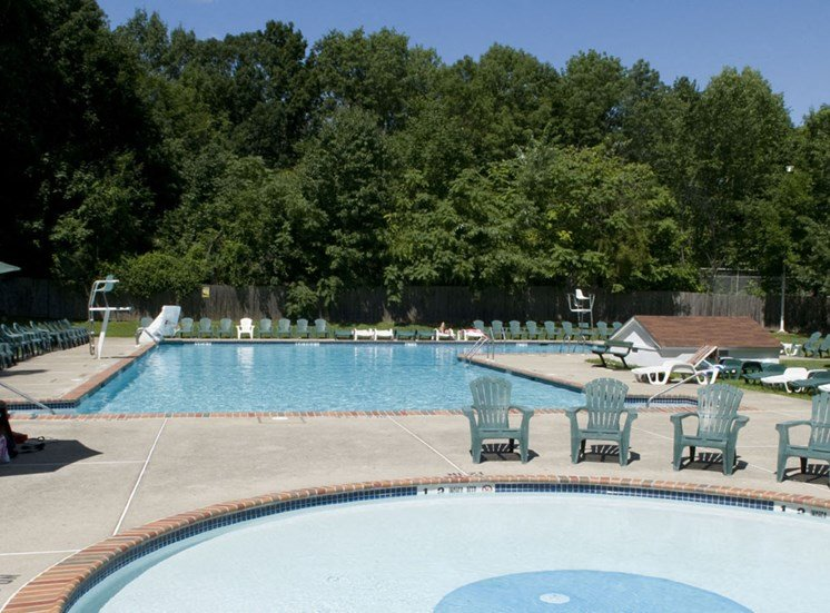 Two sparkling pools with poolside lounge at Troy Hills Village
