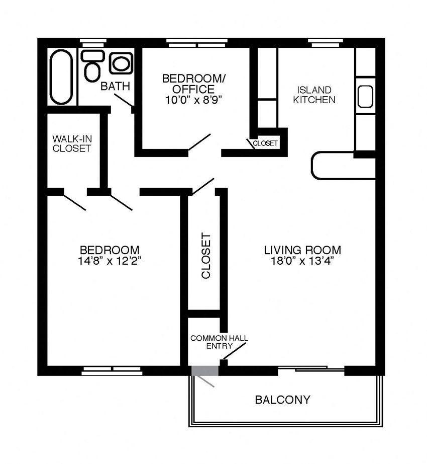 The Maple 2 bedroom, 1 bathroom floor plan at Troy Hills Village in Parsippany, NJ
