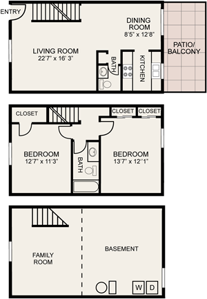2 bedroom townhome Central Square Apartments in Columbus