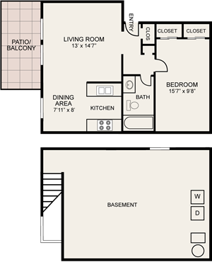 One bedroom Central Square Apartments in Columbus