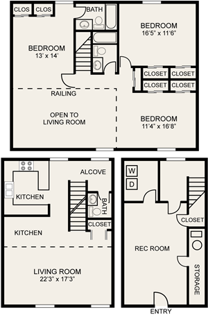 3 bedroom townhome Central Square Apartments in Columbus