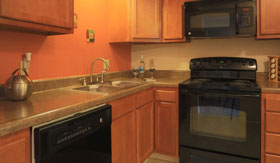 Kitchen in Castle Pointe Apartments in East Lansing