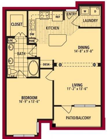 Lazio Floorplan 834 sf