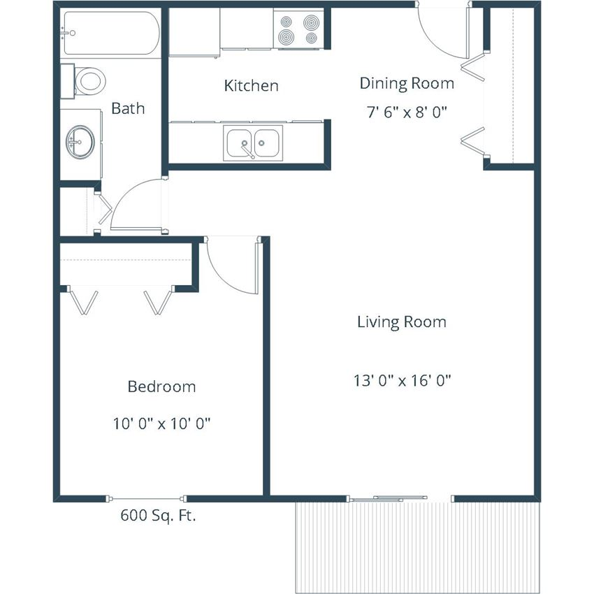 Carlton Place Apartments | One Bedroom Floor Plan A