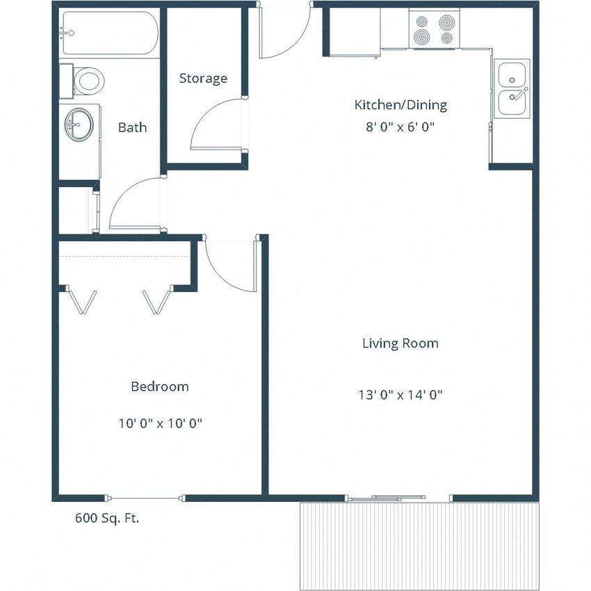 Carlton Place Apartments | One Bedroom Floor Plan B
