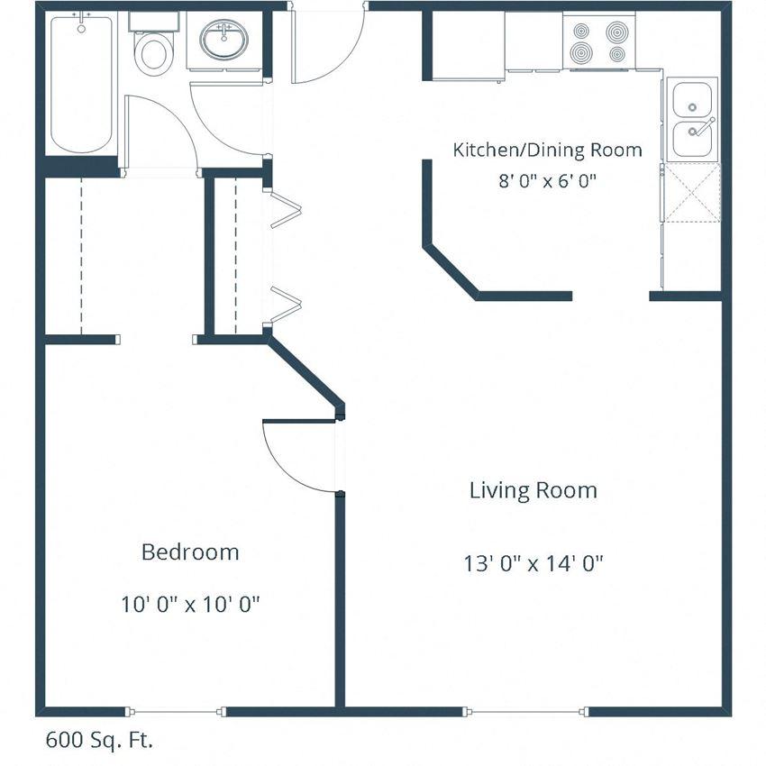 Carlton Place Apartments | One Bedroom Floor Plan C