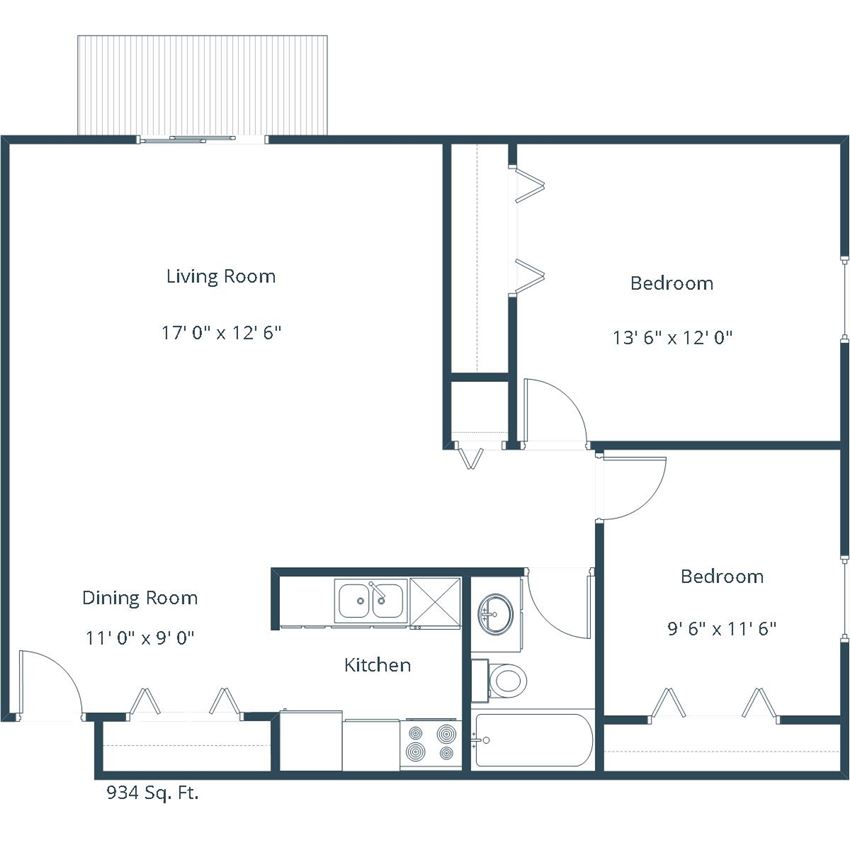 Carlton Place Apartments | Two Bedroom Floor Plan A