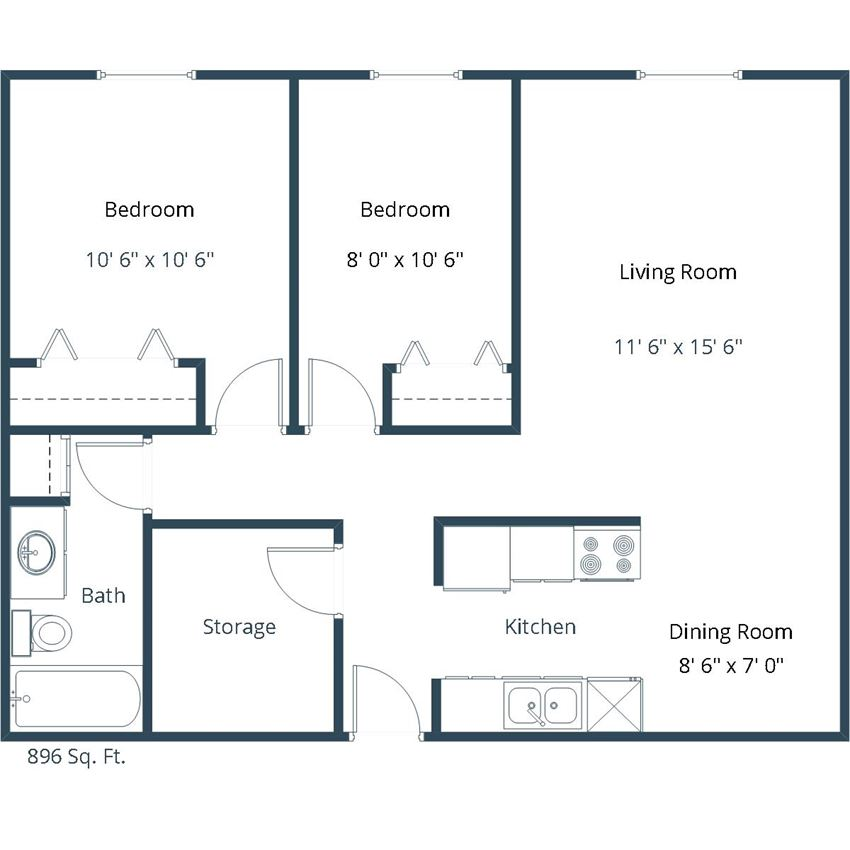 Carlton Place Apartments | Two Bedroom Floor Plan D