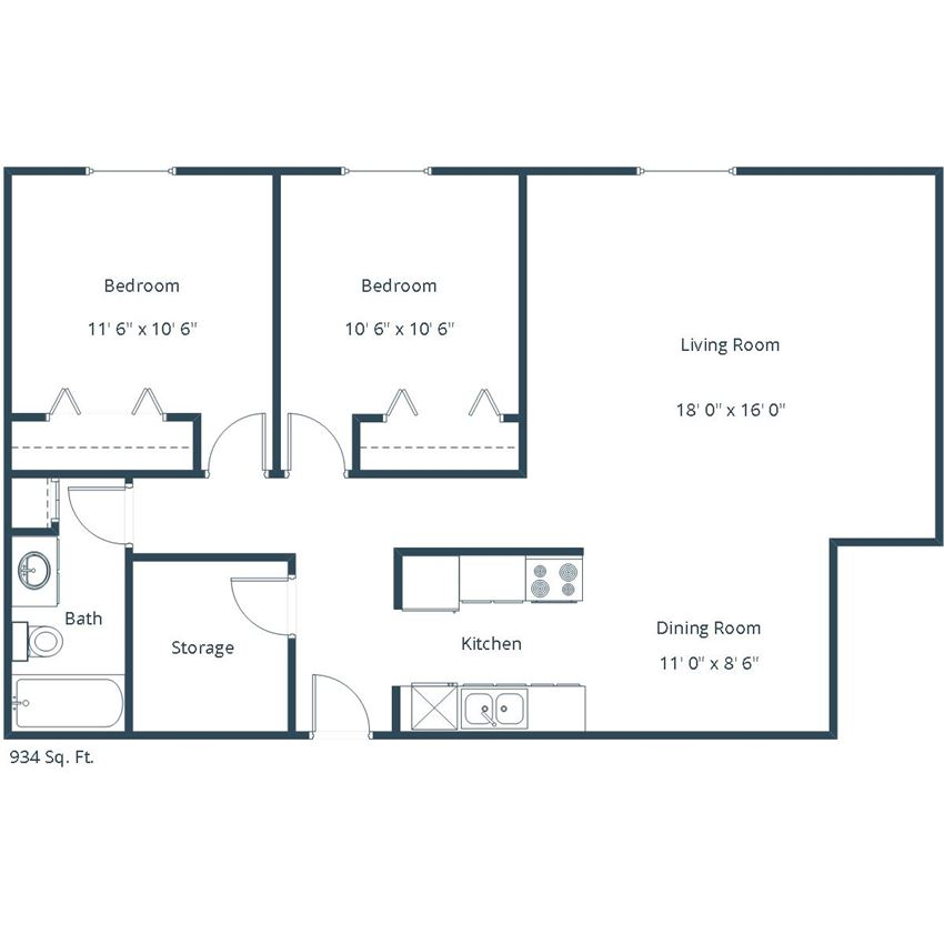 Carlton Place Apartments | Two Bedroom Floor Plan E