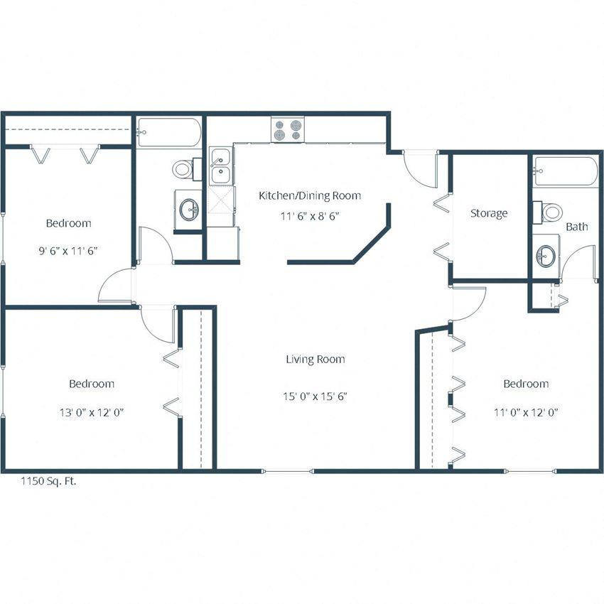 Carlton Place Apartments | Three Bedroom Floor Plan