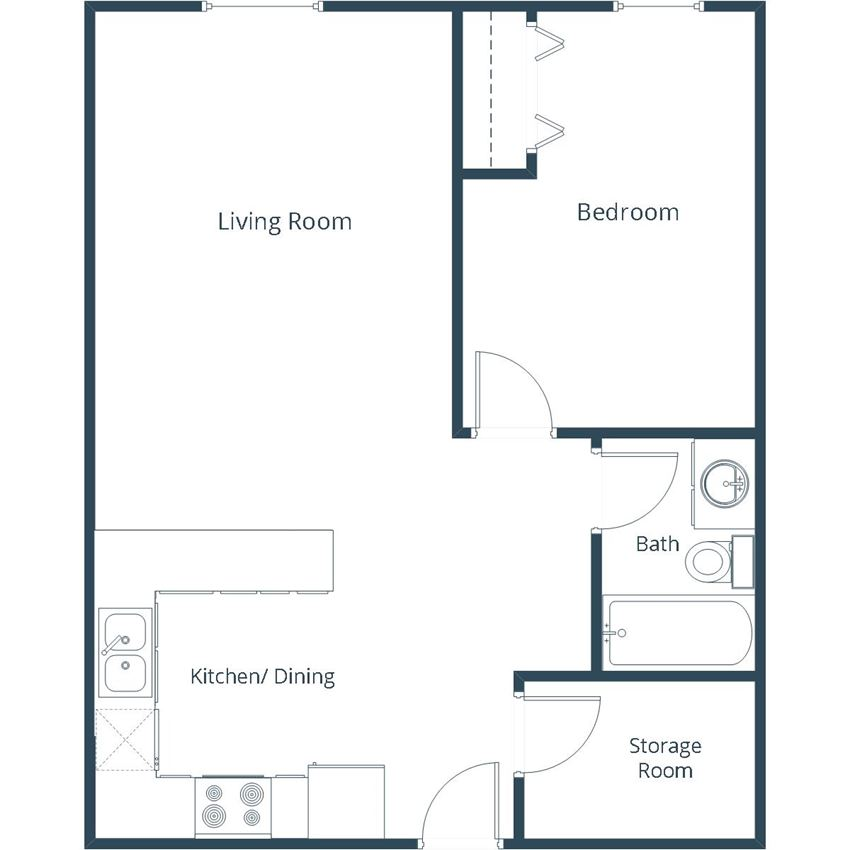 Grandview I Apartments | One Bedroom Floor Plan
