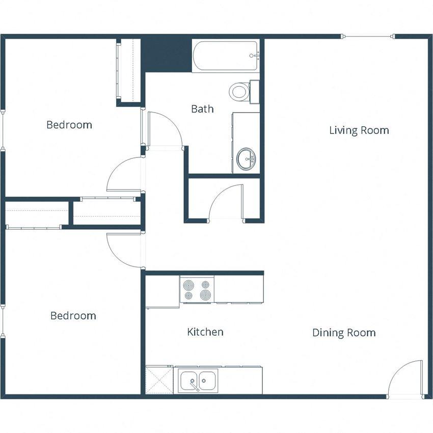Grandview I Apartments | Two Bedroom Floor Plan